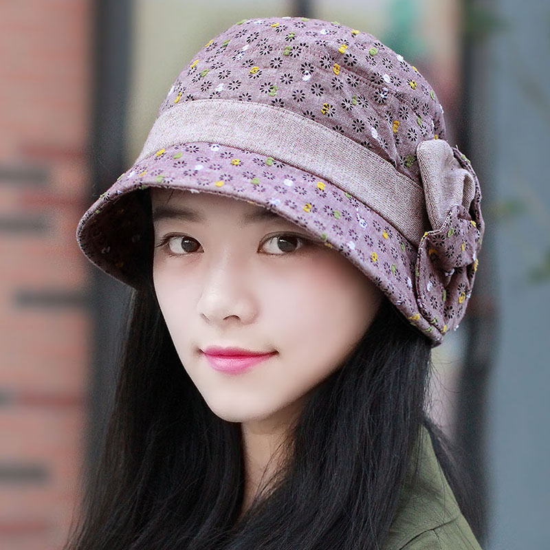 Middle-aged lady hat bucket hats hat female new fall fashion broken flower hat lady hat mother hat specials