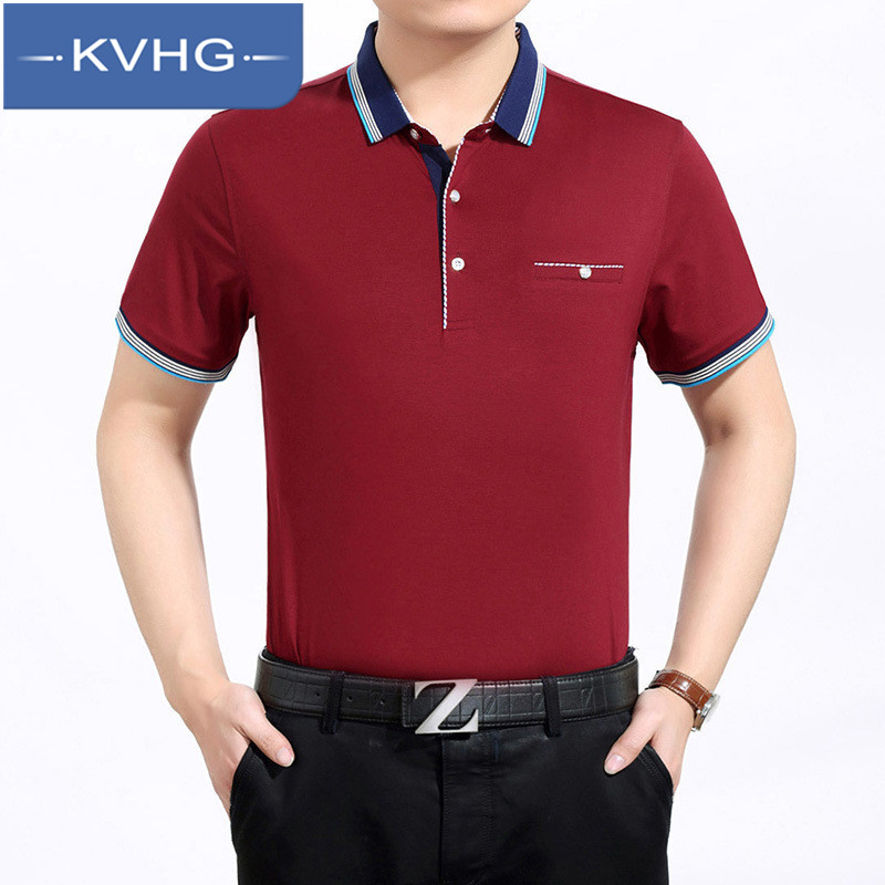 Middle-aged men's business kvhg 2016 new slim lapel short sleeve t-shirt polo shirt tide wild comfortable 2382