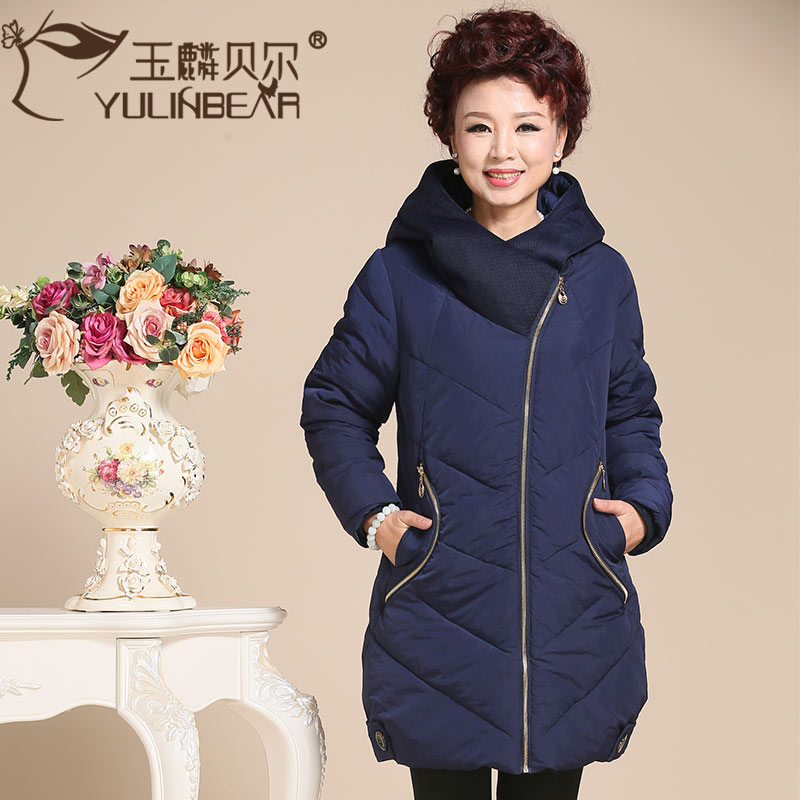Middle-aged middle-aged ladies winter coat middle-aged women mother dress big yards thick padded outer sleeve and long sections 40-50-year-old