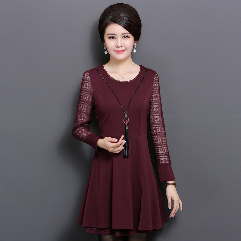 Middle-aged mother dress autumn dress middle-aged middle-aged women's spring big yards bottoming skirt spring and autumn 40-50-year-old