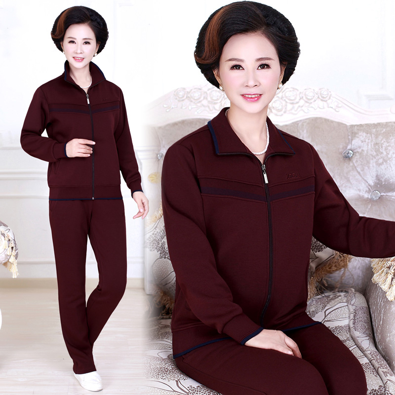 Middle-aged mother dress fall and winter piece velvet track suit female winter plus thick loose large size sportswear