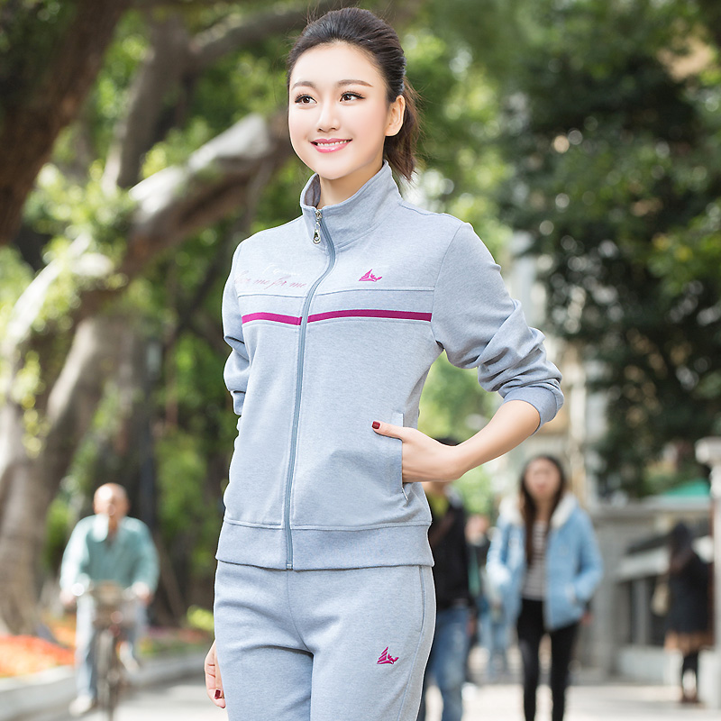 Middle-aged sports suit female spring and autumn coat middle-aged middle-aged mother dress casual cotton sportswear suit elderly