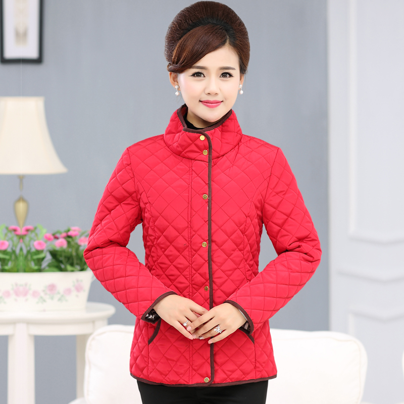 Middle-aged woman new winter solid quilted jacket coat jacket young mother dress warm cotton jacket collar