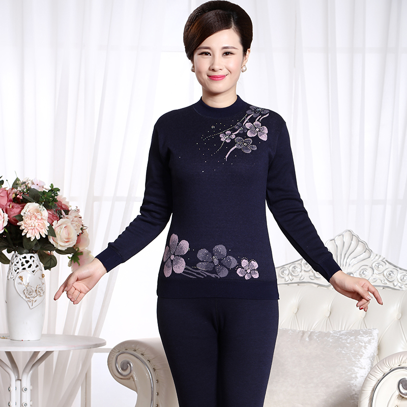 abe58dcc329 Get Quotations · Middle-aged woman thermal underwear plus thick velvet  cotton qiuyiqiuku high collar cotton in large