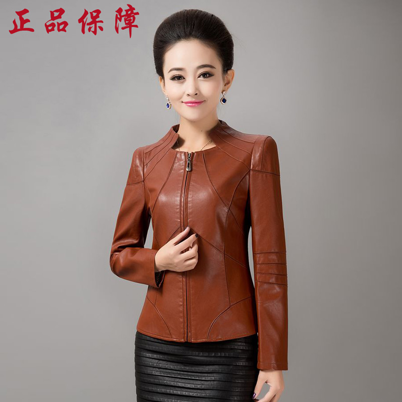 Middle-aged women mother dress middle-aged middle-aged women's spring women's leather jacket pu leather slim leather jacket new