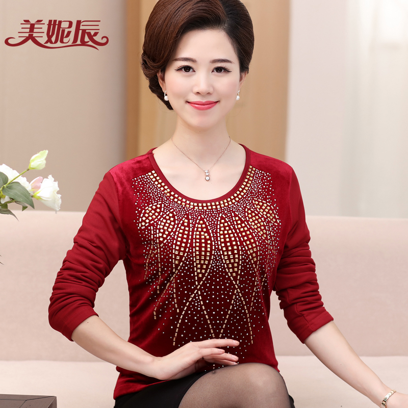 Middle-aged women's autumn and winter long sleeve plus thick velvet hot drilling bottoming shirt middle-aged mother dress 40-50 years old t-shirt to keep warm