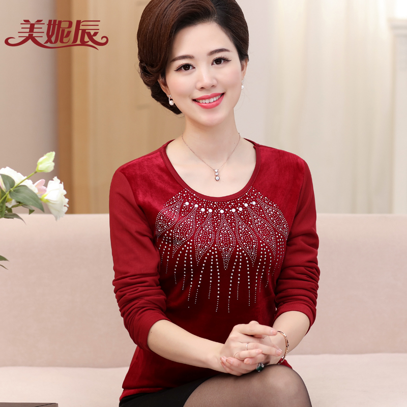 Middle-aged women's autumn and winter warm long sleeve t-shirt plus thick velvet backing shirt middle-aged mom mother dress coat 40-50-year-old