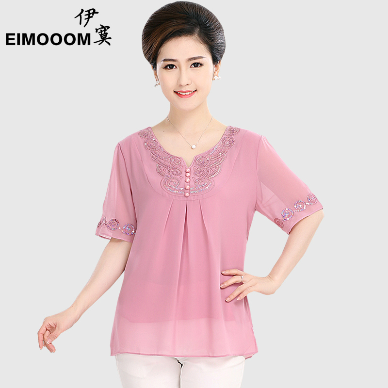Middle-aged women's summer middle-aged mother dress chiffon shirt middle-aged mother dress summer loose t-shirt shirt 50-60-year-old