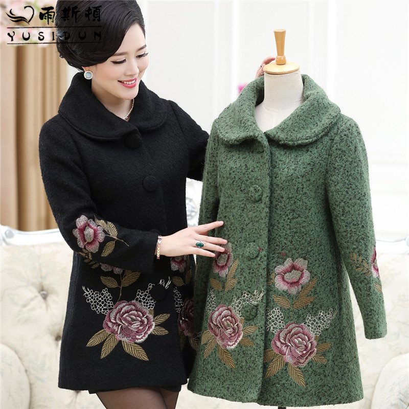 Middle-aged women's winter woolen coat long section of middle-aged mother dress embroidered flowers in winter thick woolen coat female