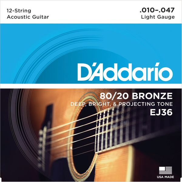 Midi castle d'addario EJ36 80/20 bronze thin section 1047 bronze acoustic guitar strings