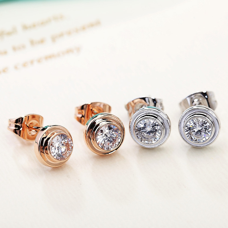 Midsummer crystal color gold earrings female korean fashion zircon single diamond rose gold plated earrings earrings with jewelry