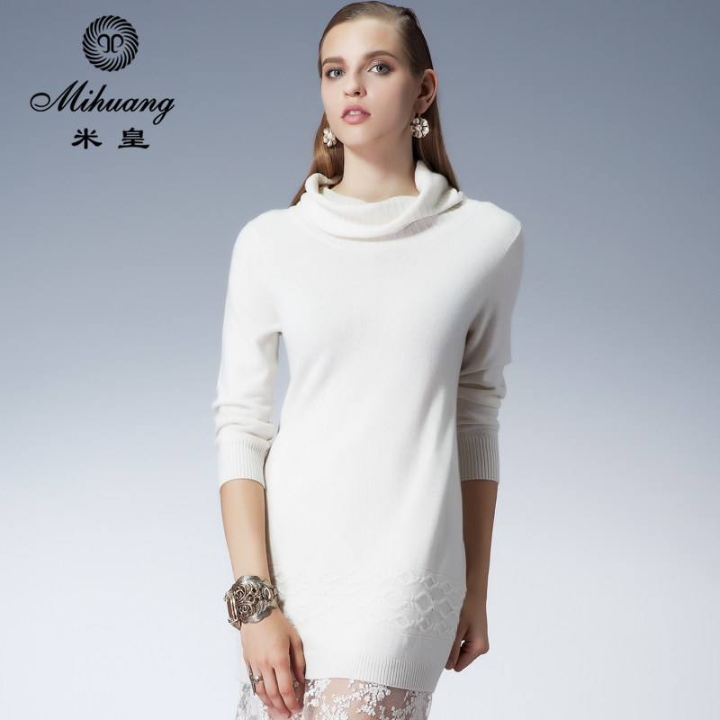 Mihuang autumn and winter temperament slim long section of pure mountain cashmere sweater piles collar hedging female pure cashmere sweater