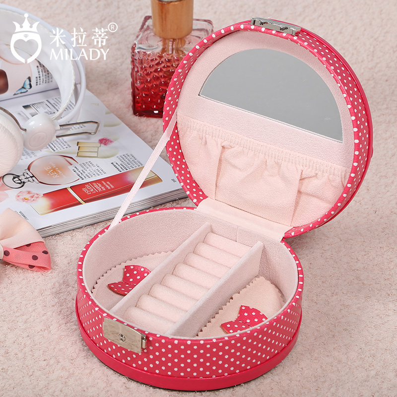 Mila di european princess wooden jewelry box portable mini travel jewelry storage box earring jewelry box