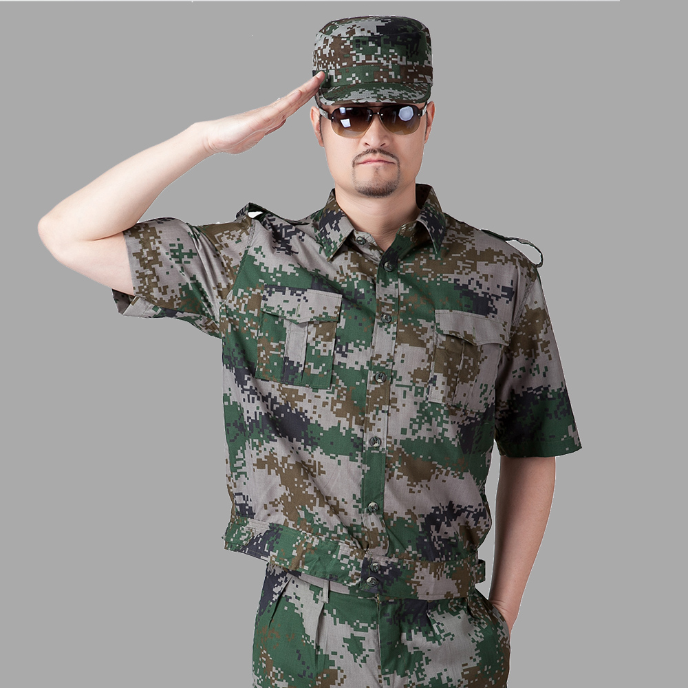 Military camouflage short sleeve summer clothes summer short sleeve camouflage suit military service men and women suit student military service