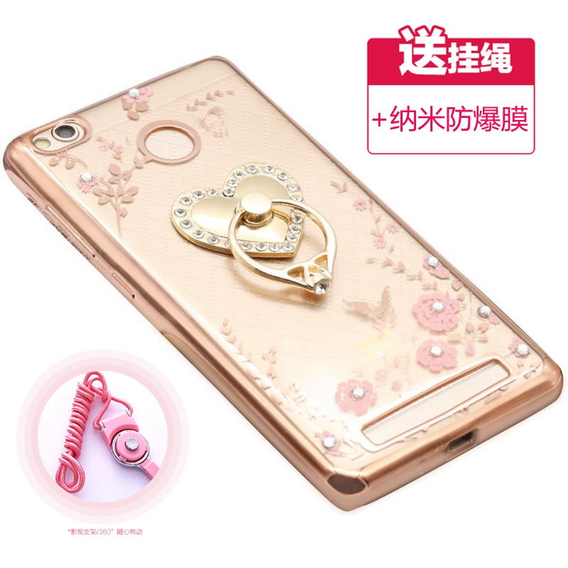 Millet red rice red rice phone shell 3x carol ring buckle redmi3x protective sleeve lanyard sets of silicone soft shell female models