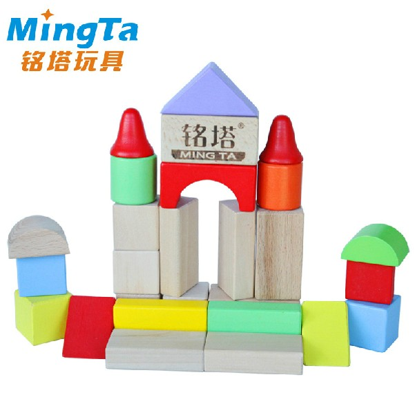 Ming tower wooden play 31 colorful wooden puzzle blocks baby intelligence chunk plot wooden children's educational toys