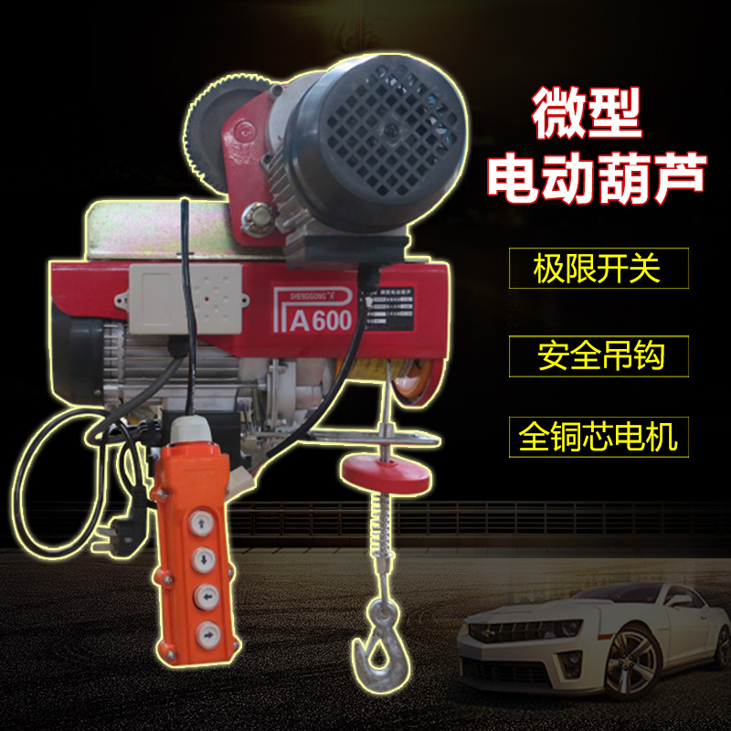 Mini electric hoist small crane hoist siamese with a sports car decoration lifting machine small household hoist