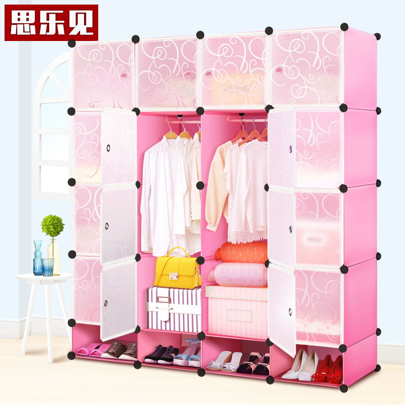 Minimalist modern european wardrobe plastic coat hanger bedroom cupboard overall folding large wardrobe closet simple solid wood children