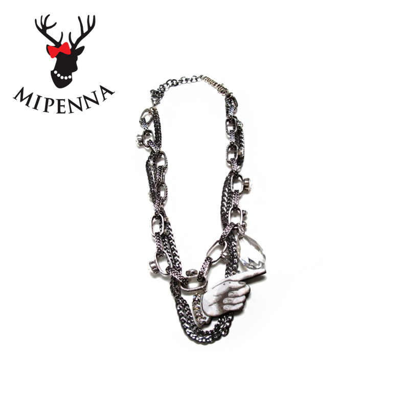 Mipenna mi bona brand necklace female short section of european and american punk wild fingers