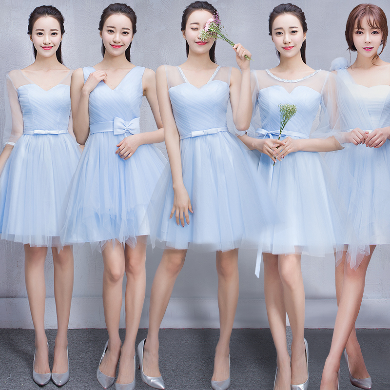 Mission bridesmaid dresses 2016 new bridesmaid dress bridesmaid dress short paragraph korean sisters skirt wedding dress blue