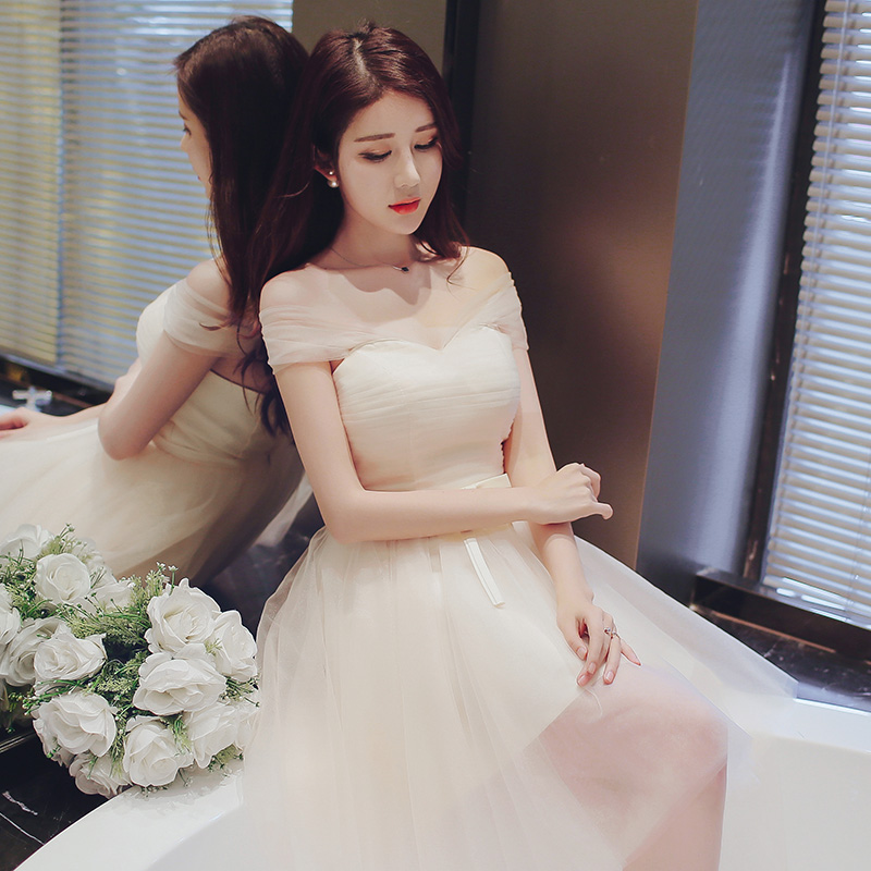 fe27421e6da7 Get Quotations · Mission bridesmaid dresses 2016 new korean champagne bridesmaid  dress short paragraph sister skirt slim was thin