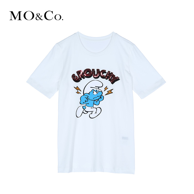 Mo & co. round neck sequin letters classic cartoon images casual short sleeve t-shirt moco MA1632T ee05