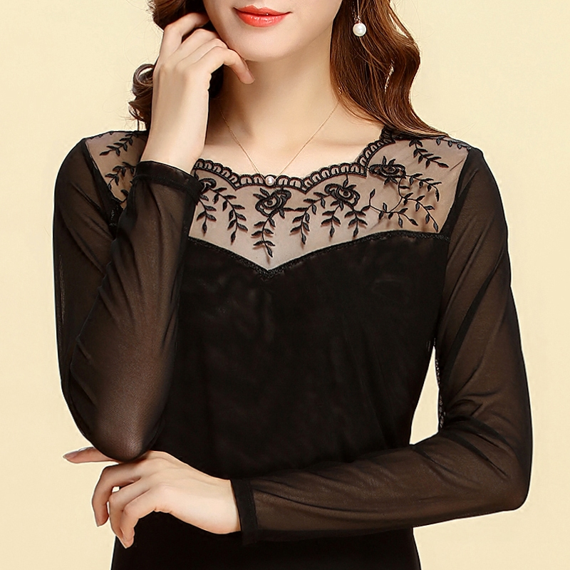 Mo fei silk autumn ladies gauze lace shirt bottoming shirt black lace shirt bottoming shirt long sleeve t-shirt shayi