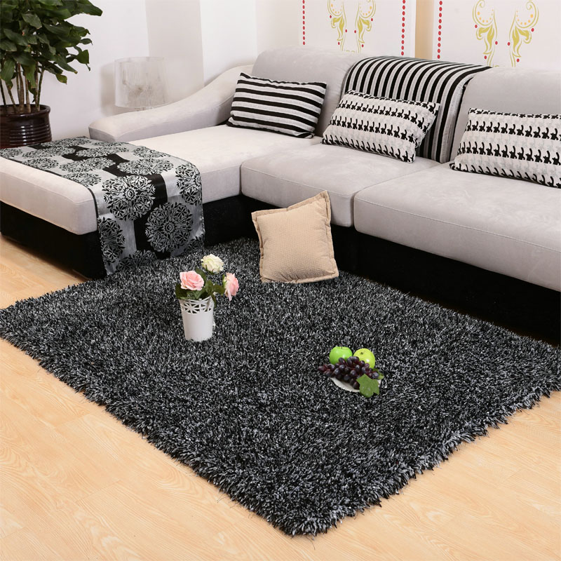Modern continental thick elastic stretch silk flag carpet living room coffee table bedroom carpet shop for bedside carpet shaggy