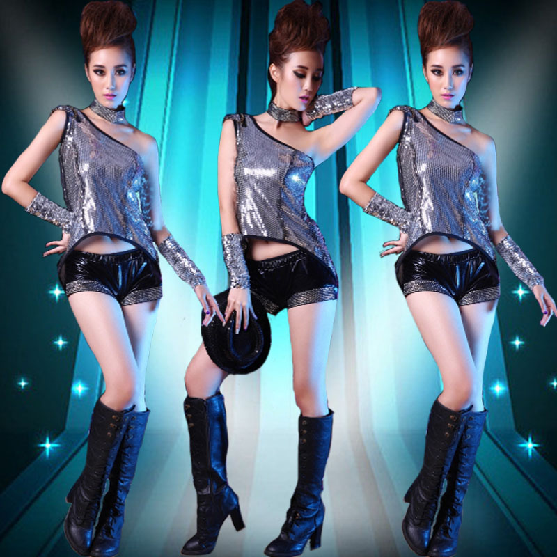 Modern jazz dance sequined costumes small apple fashion catwalk stage dance performance clothing girls clothing