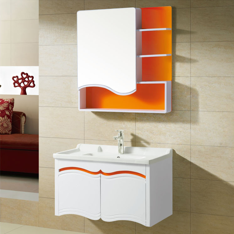 Modern minimalist pvc bathroom cabinet bathroom wall mounted bathroom cabinet bathroom cabinet combination of small apartment bathroom cabinet washbasin cabinet wash closet