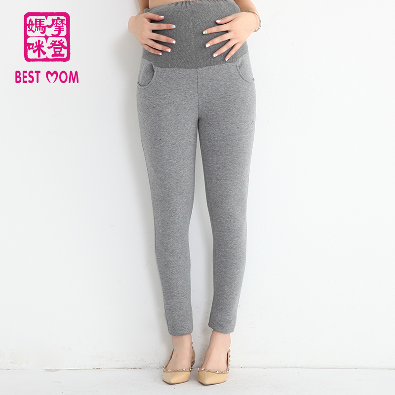 Modern mummy pregnant women care belly warm pants plus velvet pants feet large size outer wear maternity fall and winter plus velvet jeans