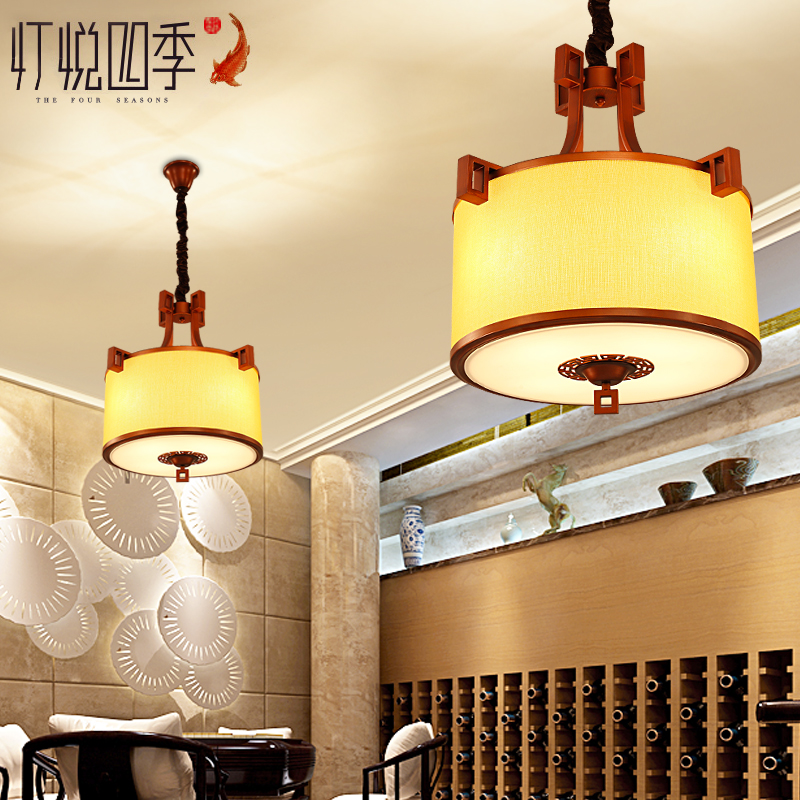 Modern new chinese restaurant chandelier antique fabric of chinese dual suction hanging cozy bedroom lamp lighting round