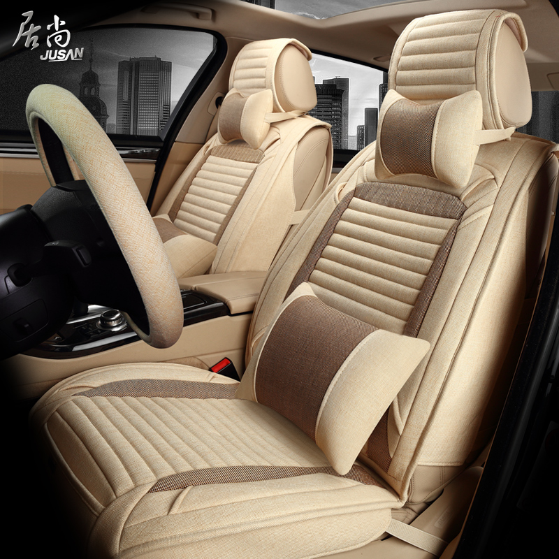 Modern ruiyi car ride sets four seasons general linen all inclusive special seat cover new four seasons car mats sets