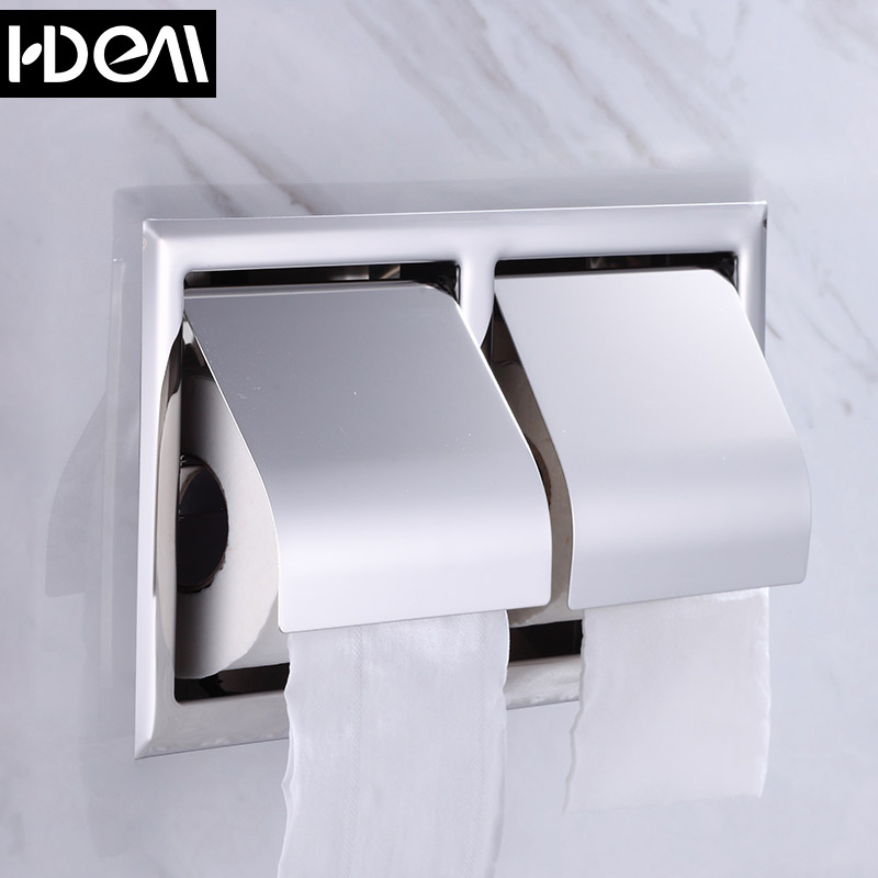 Modern stainless steel bathroom tissue box tissue box into the wall double rolls of toilet paper holder toilet tissue box holder toilet paper roll box