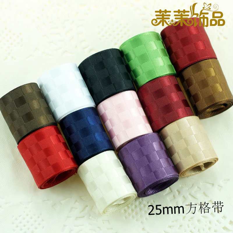 Momo diy jewelry hair accessories material (a price) 25mm/cecectomized 5cm sided satin checkered belt Ribbon ribbon