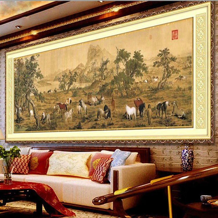 Mona lisa stitch hundred horses heirloom new printing stitch stitch substantial new living room painting series