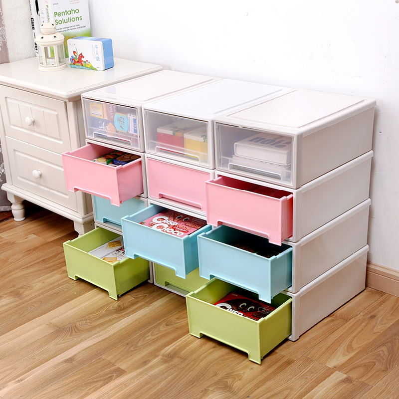 Monolayers thick cabinet drawer free combination of transparent plastic storage box drawer cabinet storage box storage cabinets