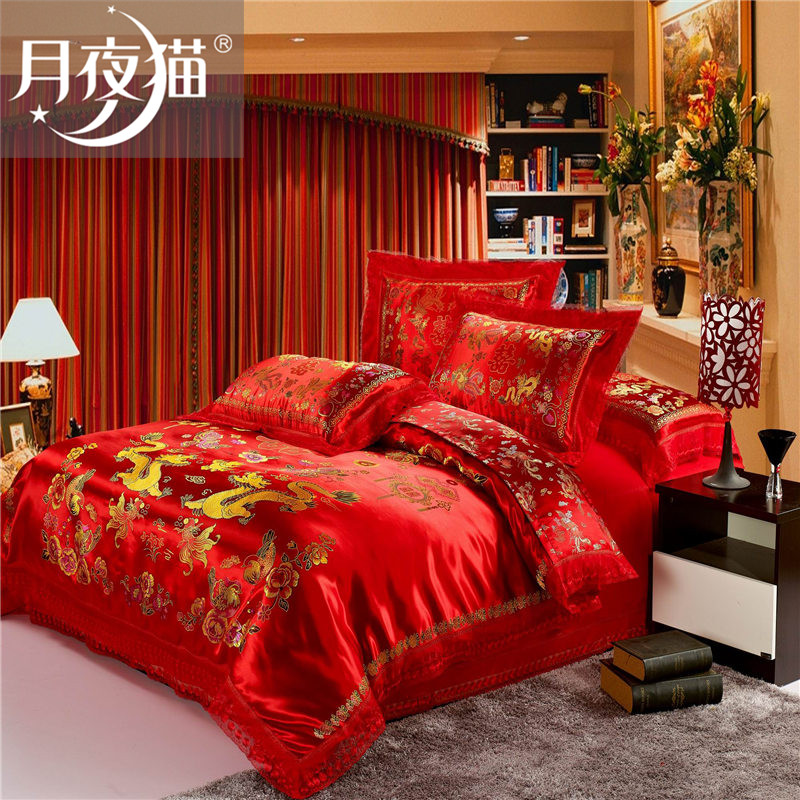 Moonlight cat family of four red wedding wedding dragon double happiness beizitou quilt silk satin wedding bedding 1.8 m