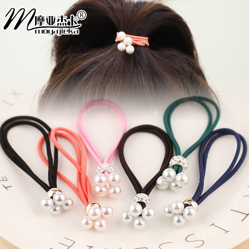 Moore jieka korean jewelry simple pearl diamond hair ring hair tie rubber band hair band
