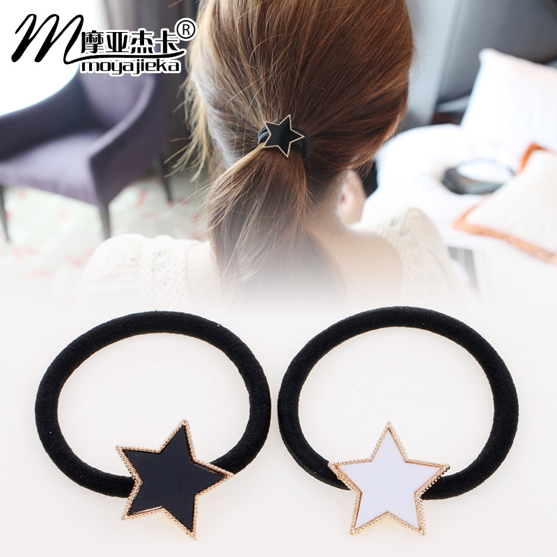 Moore jieka korean version of simple and elegant black and white star pentagram hair ring rubber band hair rope tousheng hair ornaments head ornaments