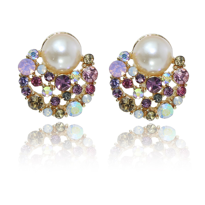 Moore jieka temperament diamond pearl moon and pearl diamond without pierced ear clip earrings jewelry female accessories