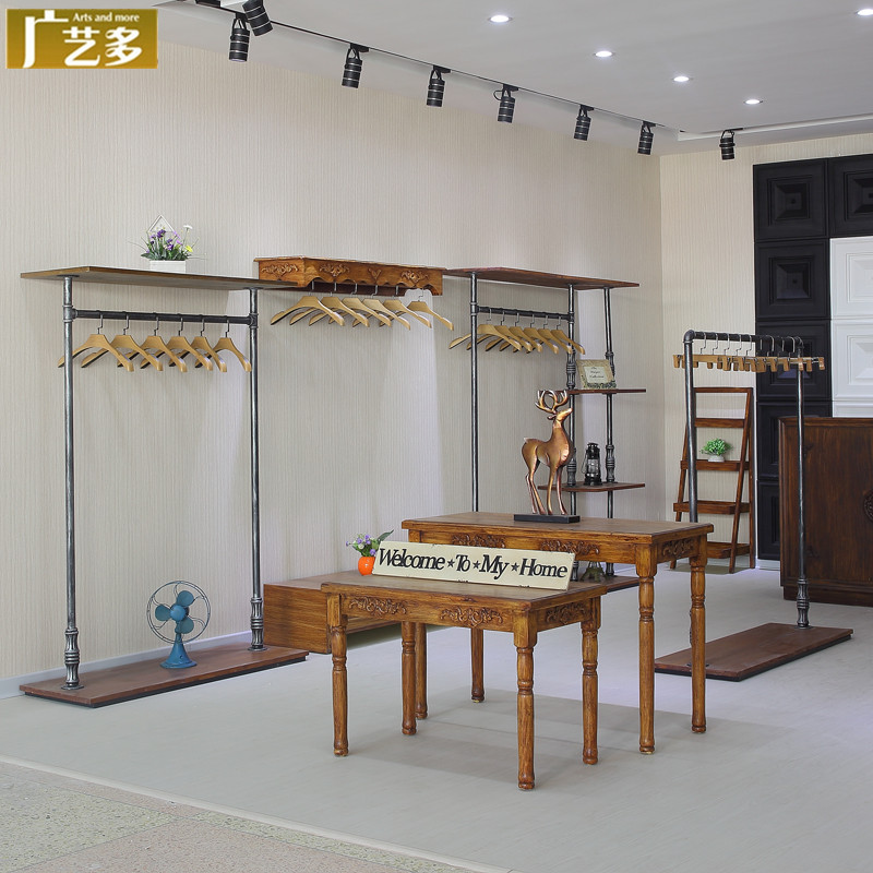 More than广艺retro clothing rack floor women's clothing store clothing store clothing racks on the wall display shelves in the island shelf