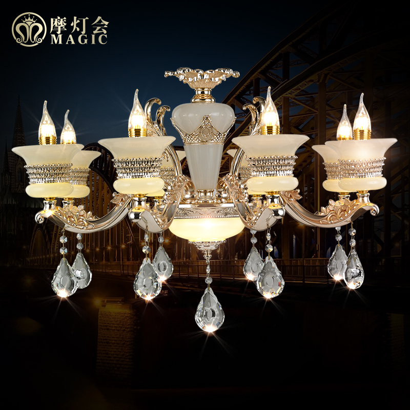 Moroccan lantern european minimalist zinc alloy crystal chandeliers bedroom living room dining marble candle lamp crystal lamps
