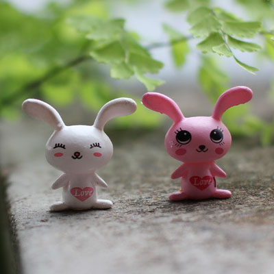 Moss micro landscape ornaments cute little mini love big ears rabbit with long ears succulents small white rabbit