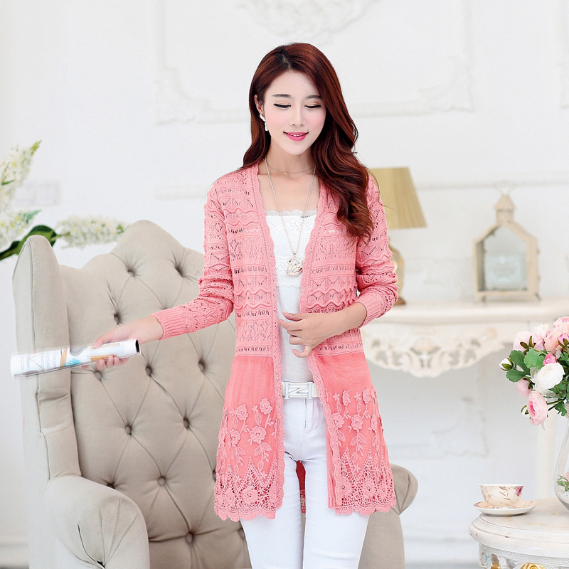 Mother's cable knit shirt female 2016 summer new korean version of openwork lace knit cardigan female