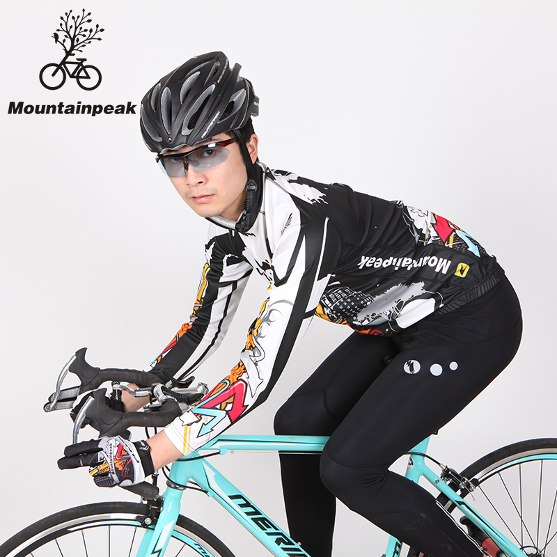 Mountainpeak jersey long sleeve spring and autumn and thin cashmere suit male mountain bike bicycle clothing orgiastic