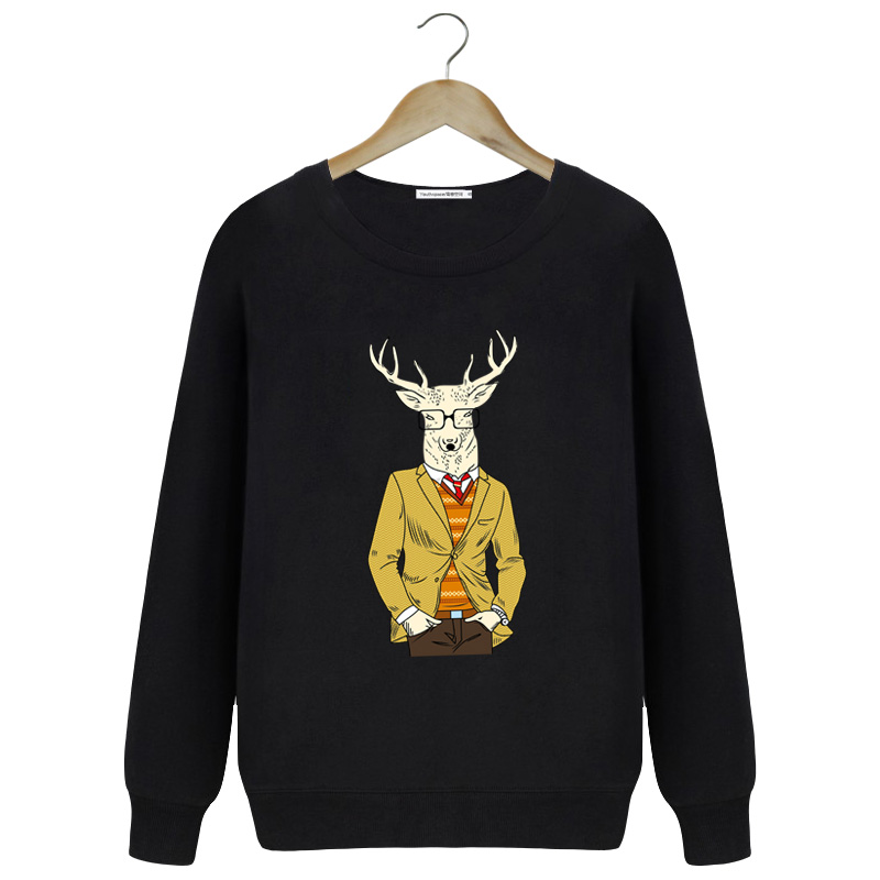Mr. deer personalized printing hedging round neck sweater men's fall and winter clothes coat japanese korean version of the harbor wind sleeved shirt