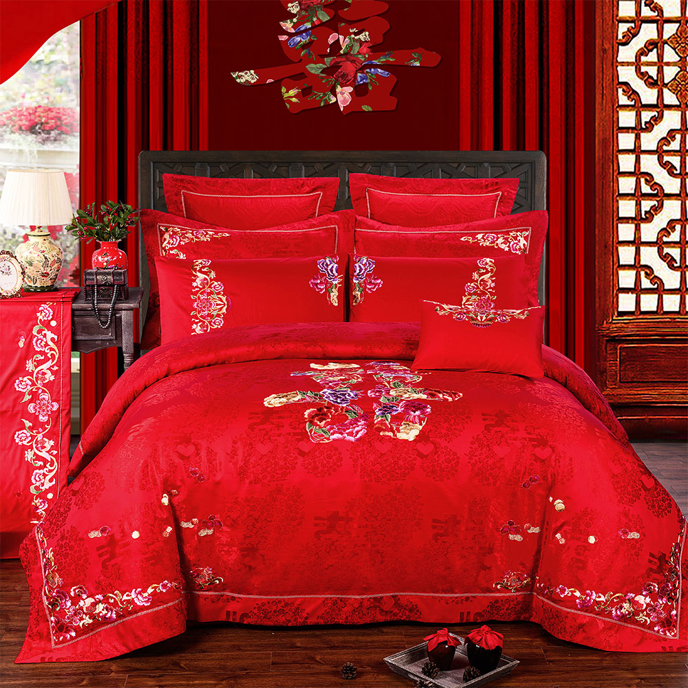Mrs. embroidered on your joy big red double happiness wedding celebration bedding bedding a family of ten pieces of kit chinese