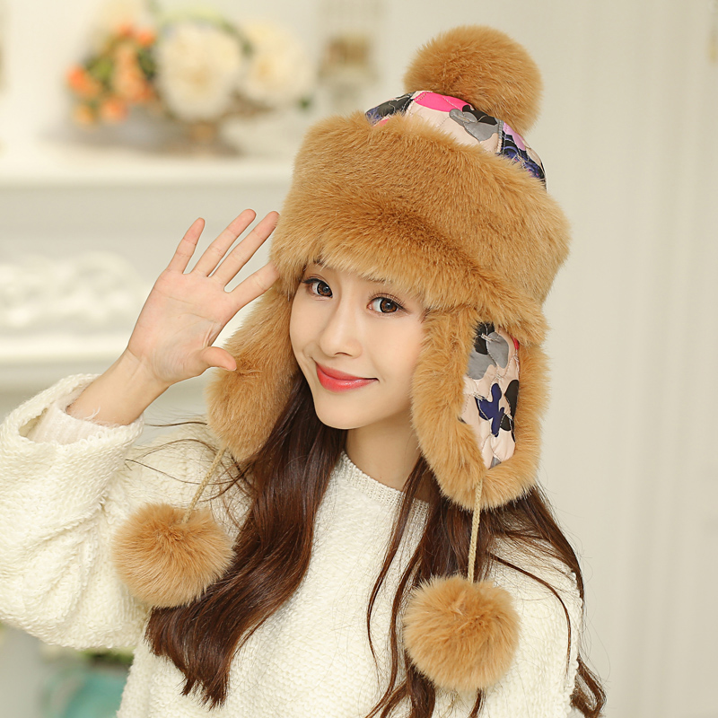 a238bd1325113 Ms. autumn and winter hat winter cap lei feng northeast cold outdoor  windproof ski hat