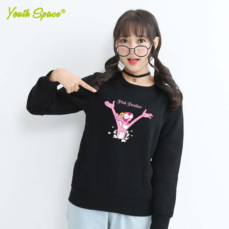 Ms. fall and winter clothes coat round neck sweater hedging japanese korean fan wild small fresh pink panther clothes teenagers